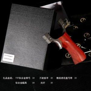 GM&BW PODEMOS TTF slingshot, Titanium fork wooden handle